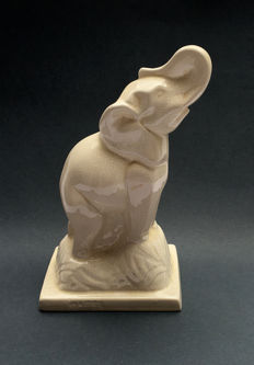 Stylized sculpture of elephant, Art Deco, white Crackle earthenware