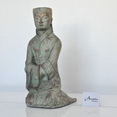 Yashima Gakutei for Austin Productions Inc. – Asian priest / holy man sculpture – beautiful, detailed statue – earthenware – 1980
