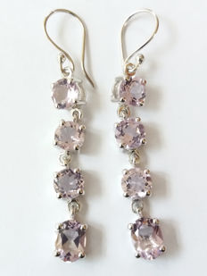 A Very Exciting Pair of Genuine Brazilian Rose De France Amethyst Earrings in Sterling Silver