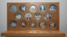 SPAIN - 1991 - I IBERO-AMERICAN SERIES  - 14 coins - Complete case and display
