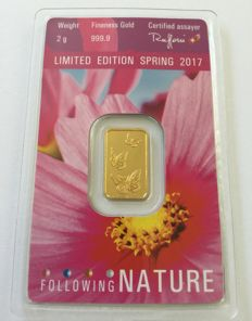 "ARGOR-HERAEUS: 2 g Gold ""Following Nature - Limited Edition Spring 2017"""