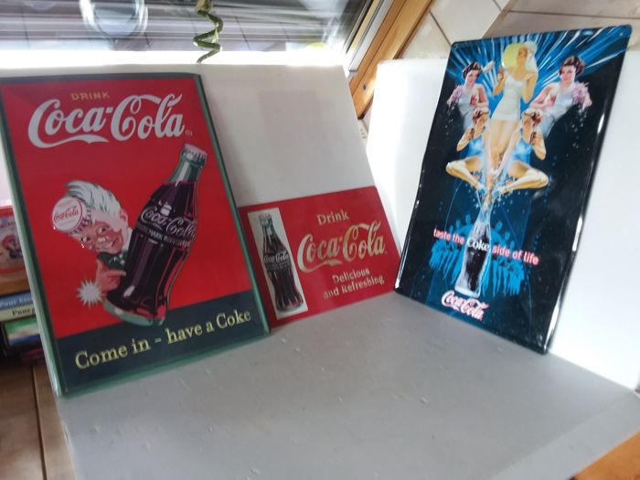 Blue and Red Coca Cola tin advertising sign. - Belgium - 1980 1985 1990.