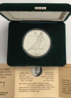Canada – 20 Dollars 1985 'Calgary 1988 Olympic Winter Games – Downhill Skiing' – 1 oz silver