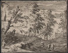 Allaert van Everdingen (1621 - 1675) - Landscape with three peasants on a country road- Hollstein 86 - Ca. 1650