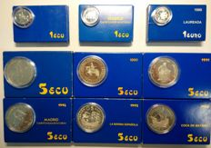 SPAIN – 6 x 5 ECU + 3 x 1 ECU – 6 ounces of silver – 9 cases 1989/98 – FNMT