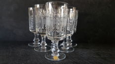 6 water glasses in worked Bohemian crystal