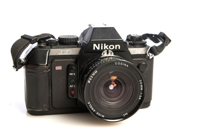 Analogue Nikon type SRL with 20mm lens 1983
