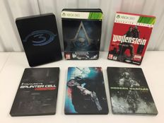 6x XBOX 360 Steelcase Limited Edition games Assassin's Creed Black Flag Skull, Call of duty Black Ops etc