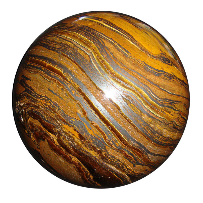 Tiger Eye Sphere with silver and gold strands - 104 mm - 1870 gm