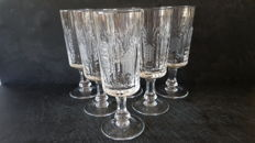 6 wine glasses in finely worked Bohemian crystal