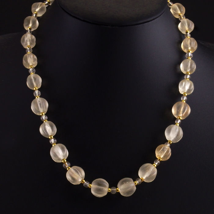 Ancient crystal melon beads necklace - 49,5 cm