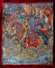 """Woven carpet """"King Arthur"""" designed by Marc Waymel of the well-known Tapisserie d'Halluin (signed)."""