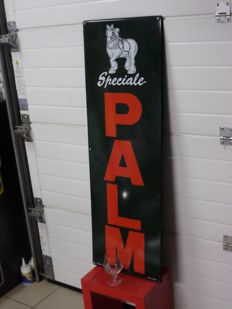 Beautiful Enamel Palm advertising sign 120x40cm 1996 with accompanying rare glass horse on foot