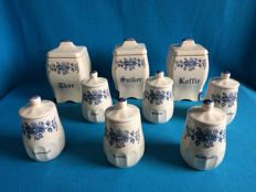 9 Brocante stockpots. [Pottery], blue floral pattern.