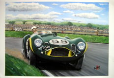 Fine Art : Stirling Moss in the Aston Martin DB3S #59 at Goodwood 1956