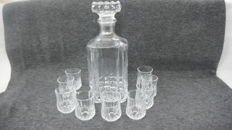 carafe and liqueur diamond cut Crystal glasses