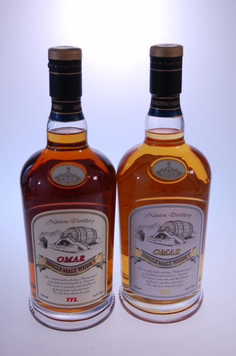 2 bottles - Omar Sherry and Bourbon Single Malt Whisky