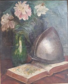 Spanish School c. 19th - Flores, Yelmo y Libro (flowers, helmet and book)