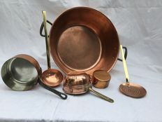 Set of 2 French red copper saucepans and beautiful jam bowl with skimmer, ladle, fruit colander, copper and brass.
