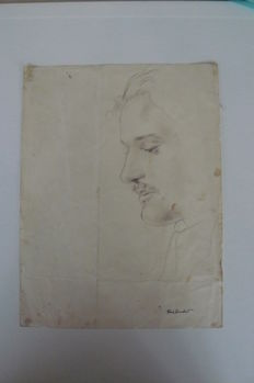 Cuvelier, Paul - original drawing - self-portrait