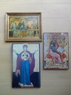 3 beautiful religious wooden panels