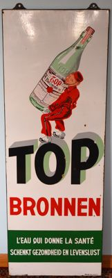 Enamel advertising sign Top Bronnen - Nederbrakel 1955