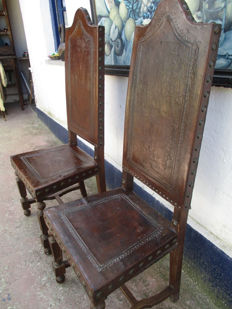 Two Backrest chairs lined with pickled leather, France, late 19th century