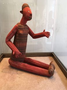 Very large funerary doll made of wood and fabric - BWENDE - Former Belgian Congo