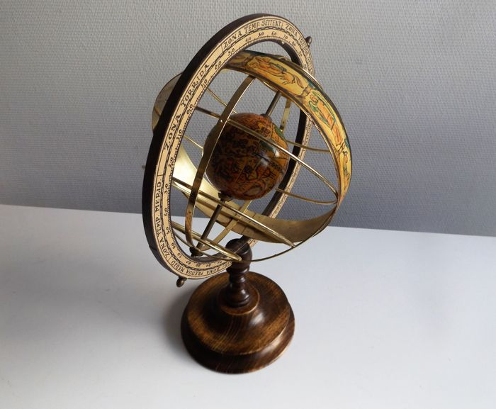 Beautifull wooden zodiac globe with spinning eclipticas
