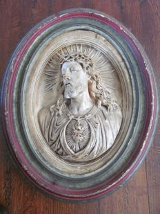 signed Christ relief plaque in wooden frame - France - 19th century