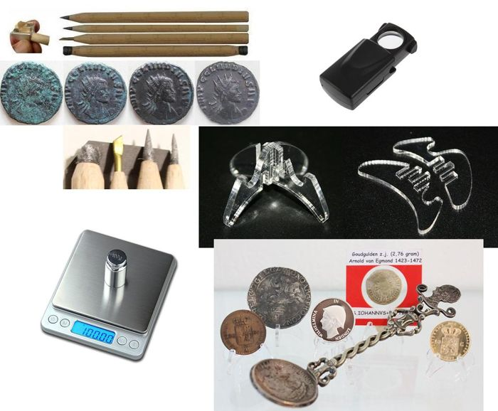 Metal detector coin accessories - restoration pencils, digital balance, a loupe and 25 coin standards