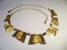 Golden necklace from Bolivia - about seventy years, artistic pattern 3D