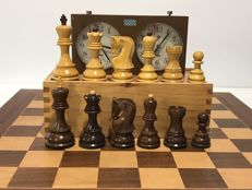 Chess set Yugoslavia. Pieces, clock and board for competition.