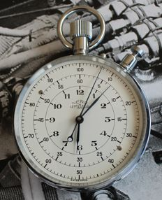 Rare Nero Lemania - flyback jumbo pocket stopwatch 1960´s