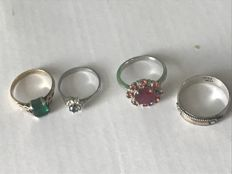 Collection of 4 rings gold 22ct 9ct and silver 925