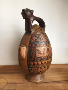Antique stone jug with a jaguar handle - Peru