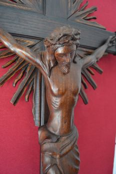 Large Crucified Christ - carved wood - Italy ca.1940