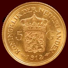 The Netherlands – 5 guilder coin 1912, Wilhelmina – gold