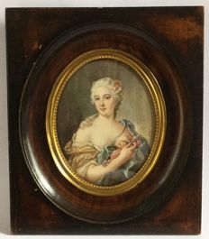French school - Mme de Pompadour - portrait miniature, gouache - France - late 19th century