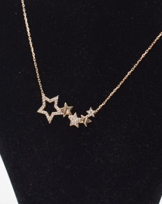 14 carat yellow gold necklace with stars  pendant