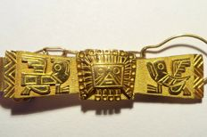 Vintage yellow gold tie clip from Bolivia, ca. 1970