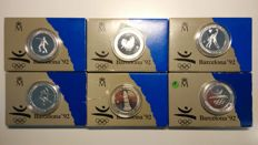 SPAIN - 6 x 2,000 pts in cases - Barcelona Olympic Games 1992 - 1990/91 - FNMT