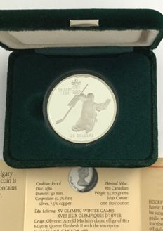 Canada - 20 Dollars 1986 'Calgary 1988 Olympic Winter Games – Hockey' – 1 oz silver