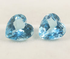 2 (pair) sky blue topazes– 6,22 ct  total  No Reserve Price
