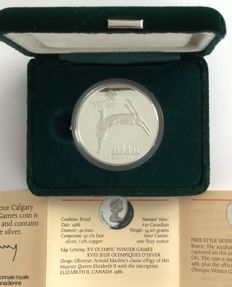 Canada - 20 Dollars 1986 'Calgary 1988 Olympic Winter Games – Free Style Skiing' – 1 oz silver