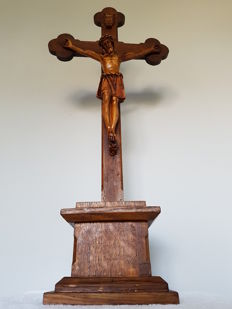 Large Inri, from the 1920s -1930s Dutch. Oak pedestal and cross with plaster Jesus and Inri text scroll.