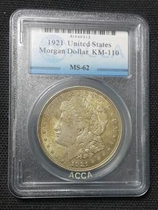 United States - 1 Morgan Dollar 1921 - silver