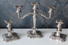 Set of 3 silver plated Victorian candle stands, England, mid 20th century