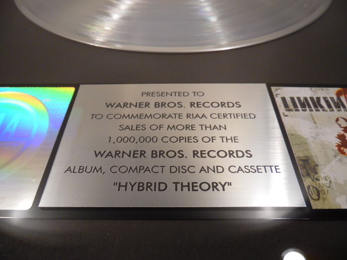 Linkin Park Hybrid Theory Real Us Riaa Platinum Music Award Goldene Schallplatte Original Sales Music Record Award Golden Record
