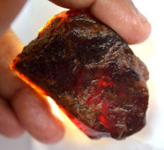 Natural red hessonite garnet untreated rough - 48.36 x 33.16 x 18.18 mm - 314,15 ct